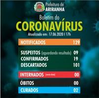 Boletim diário Corona Vírus (COVID-19) – 17/06/2020