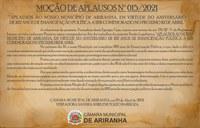 MOÇÃO DE APLAUSOS Nº 015/2021