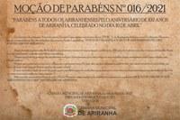 MOÇÃO DE PARABÉNS Nº 016/2021