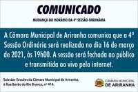MUDANÇA DO HORÁRIO DA 4ª SESSÃO ORDINÁRIA